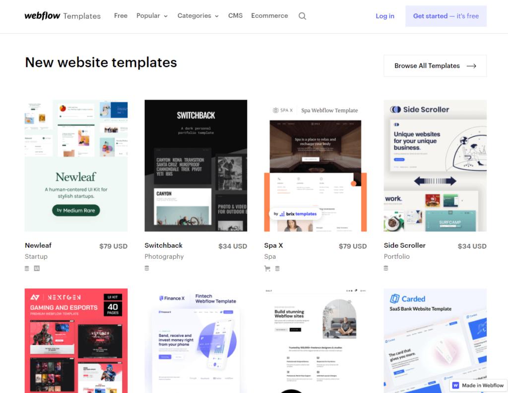 webflow design templates